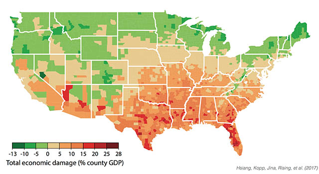 Total economic damage (% county GDP)