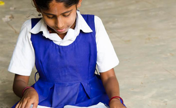 Girl at school in India