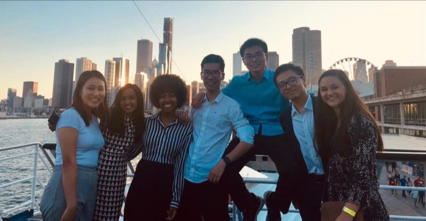 2019 DPSS students pose for a photo on the program boat cruise on Lake Michigan.