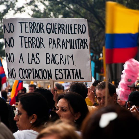 Protestors in Colombia